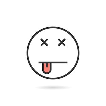 Icona di emoji linea sottile morta con ombra. concetto di occhi incrociati, halloween, morto, nausea, pianto, umorismo lineare, kawaii, divertimento. stile piatto tendenza logotipo moderno design illustrazione vettoriale su sfondo bianco