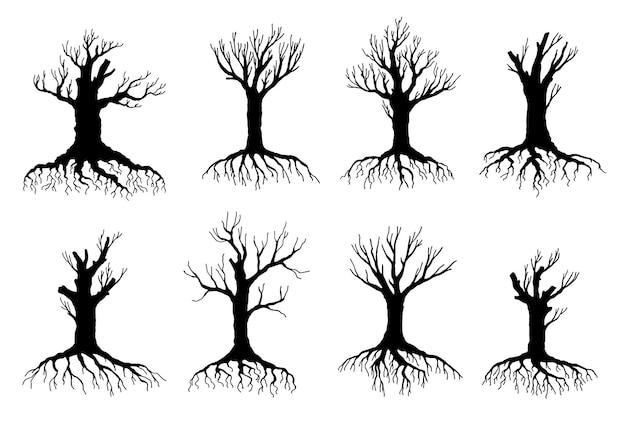 Sagome vettoriali di alberi morti e appassiti di design ambientale ed ecologico. oggetti isolati di vecchi alberi storti secchi, rami spogli neri, tronchi, radici e corone senza foglie di piante forestali