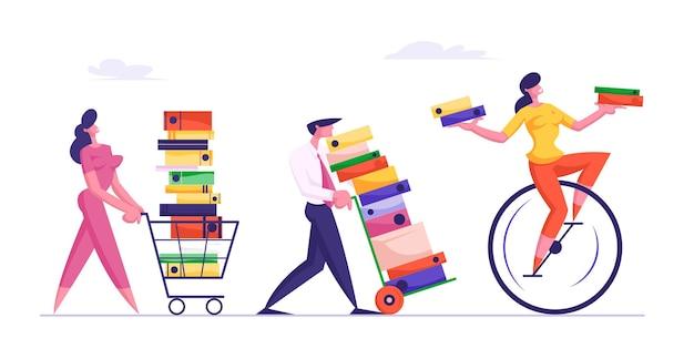 Il concetto di scadenza con la gente di affari trasporta enormi pile di documenti
