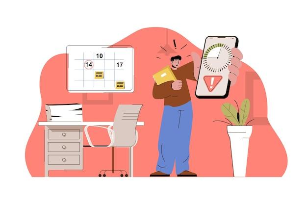 Concetto di data di scadenza dipendente preoccupato tiene il telefono con scadenza del timer per l'attività