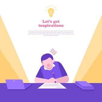 Illustrazione piana di concetto di lavoro a casa e di scadenza