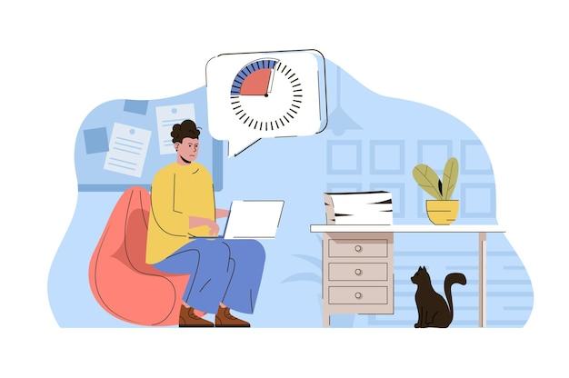 La scadenza sta arrivando concetto dipendente che lavora e cerca di completare l'attività in tempo