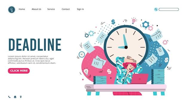 Banner web di gestione delle scadenze con illustrazione vettoriale di cartone animato donna d'affari