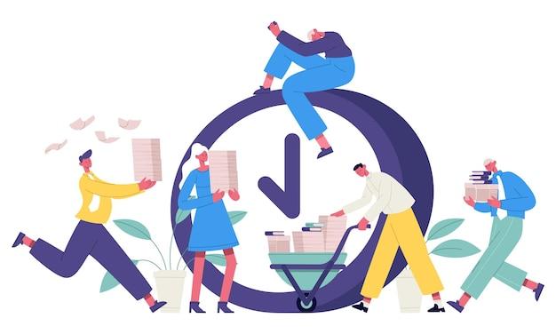 Scadenza del concetto di ufficio. uomini d'affari che affrettano processo di lavoro, impiegati ad alto stress