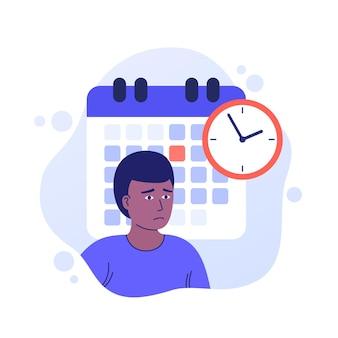 Scadenza sul lavoro, gestione del tempo, illustrazione vettoriale con un uomo