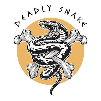 Ossa incrociate di serpente mortale,