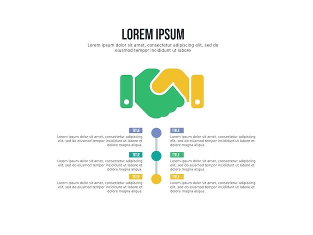 Affare stretta di mano sfondo presentazione infografica e statistiche