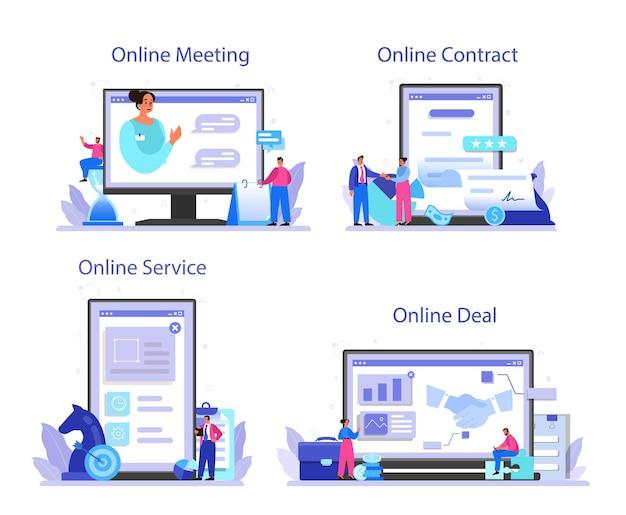 Affare servizio online o piattaforma impostata in design piatto. Vettore Premium