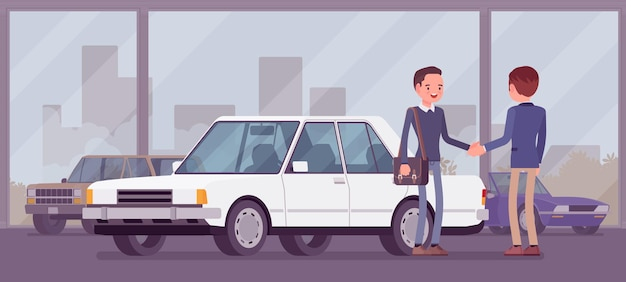 Rivenditore in showroom di auto mostra il veicolo in vendita