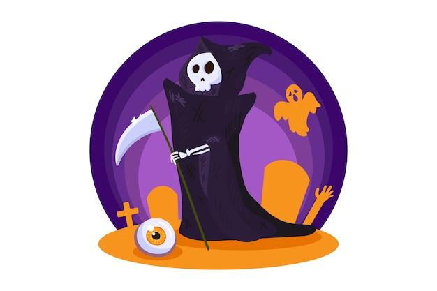 Personaggio della morte per la decorazione notturna della festa di halloween.