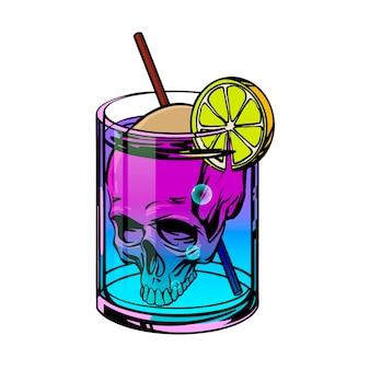 Cocktail della morte con teschio e bevanda al neon disegnata in stile pop art. illustrazione vettoriale.