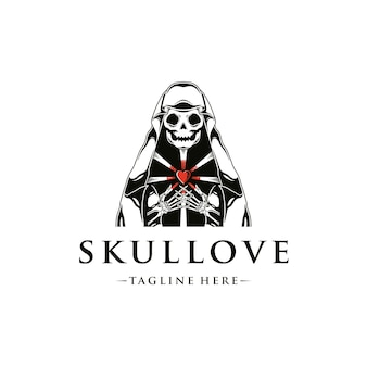 Modello di logo di amore del commerciante di morte
