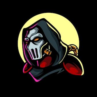 Logo della mascotte di death mask e sport