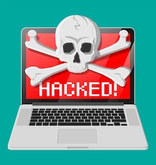 Teschio della morte e ossa incrociate sullo schermo del laptop