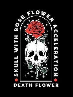 Teschio della morte con disegno fiore rosa