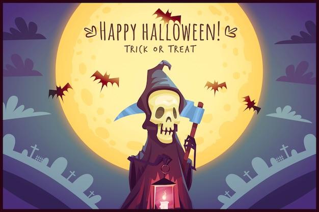 Morte con falce e lampada incandescente sullo sfondo del cielo di luna piena happy halloween poster dolcetto o scherzetto biglietto di auguri illustrazione