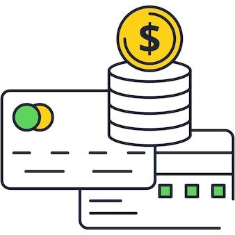 Icona piana di vettore di carta di debito e credito banca