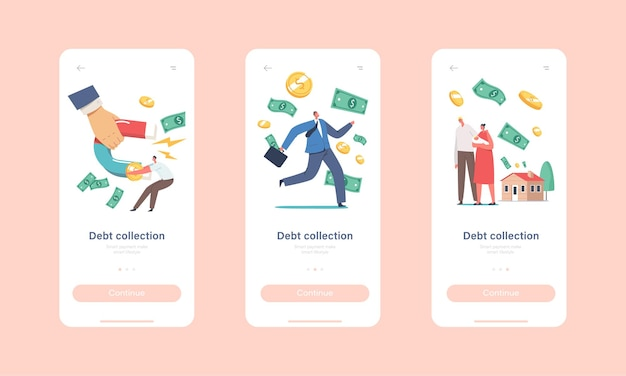Modello di schermata a bordo della pagina dell'app mobile per la riscossione dei debiti. enorme mano con magnete che attira denaro da piccoli personaggi che cercano di scappare