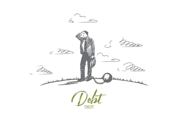 Concetto di debito. uomo d'affari disegnato a mano incatenato a una grande palla. uomo in difficoltà finanziarie illustrazione isolata.