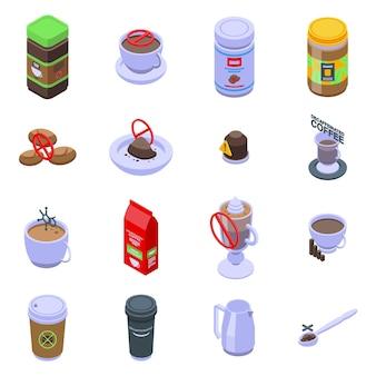 Set di icone di caffè decaffeinato. insieme isometrico delle icone del caffè decaffeinato per il web design isolato su sfondo bianco