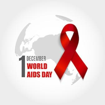 Sfondo della giornata mondiale contro l'aids del 1 dicembre. segno di nastro rosso. illustrazione vettoriale eps10