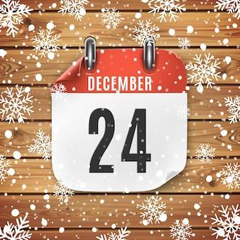 Icona del calendario 24 dicembre con neve e fiocchi di neve. vigilia di natale.