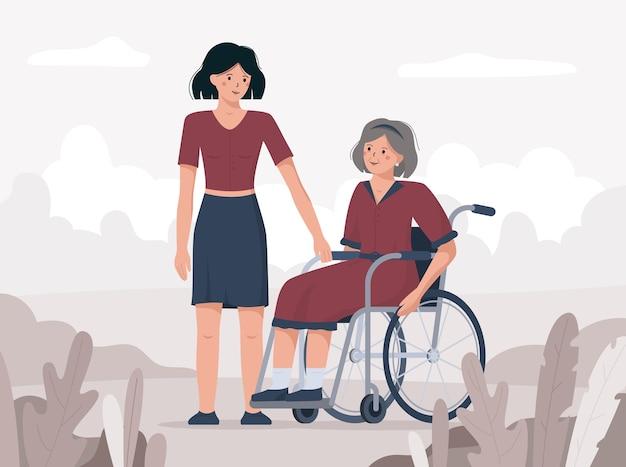 Dicembre la terza giornata internazionale delle persone disabili. illustrazione di una donna su una sedia a rotelle.