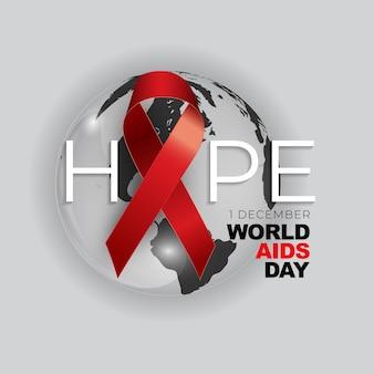 Dicembre concetto di giornata mondiale contro l'aids con il segno del nastro rosso.