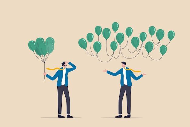 Decentralizzazione, tecnologia blockchain per distribuire l'autorità senza centro, concetto di finanza decentralizzata defi, uomo d'affari che tiene palloncini centralizzati che guardano la rete di palloncini decentralizzati.