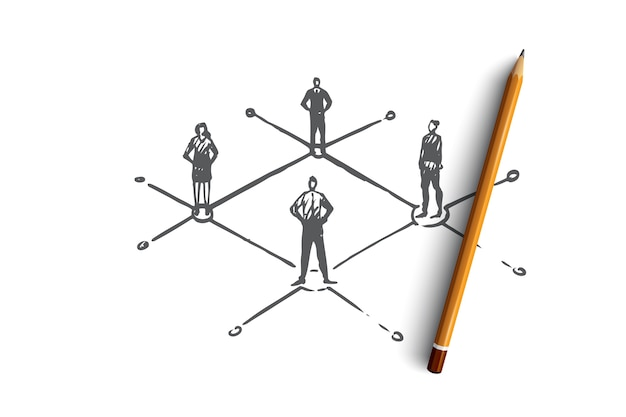 Decentrato, persone, connesso, elemento, concetto di struttura. schizzo di concetto separato persone disegnate a mano.