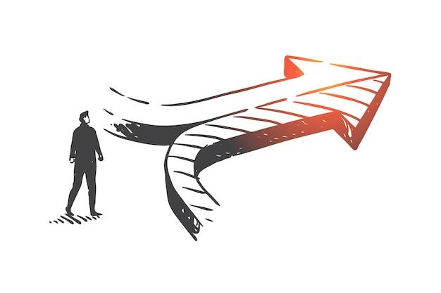 Processo decisionale, illustrazione di schizzo di concetto di raggiungimento dei risultati