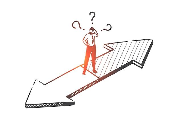 Illustrazione di schizzo di concetto di processo decisionale