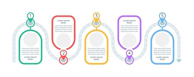 Modello di infografica passaggi decisionali. elementi di design di presentazione di indagine con spazio di testo.