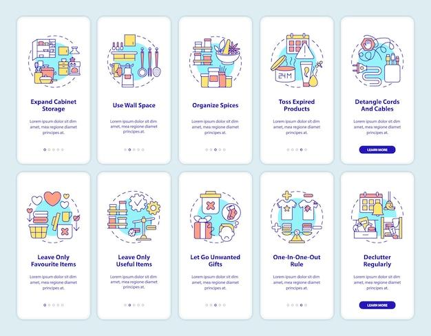 Declutter regolare la schermata della pagina dell'app mobile di onboarding con i concetti impostati. istruzioni grafiche per districare cavo e cavi in 5 passaggi. modello di interfaccia utente con illustrazioni a colori rgb