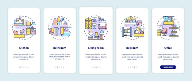 Disposizione delle aree sulla schermata della pagina dell'app mobile con concetti. luoghi in casa da pulire con istruzioni grafiche in 5 passaggi. modello di interfaccia utente con illustrazioni a colori rgb Vettore Premium