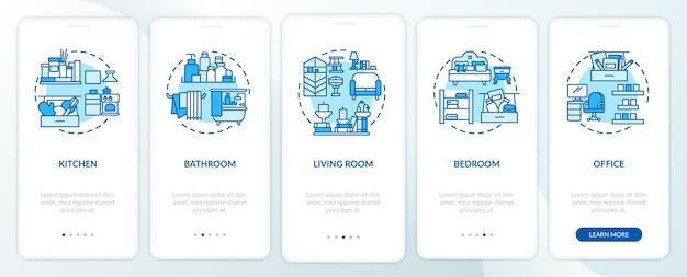 Disposizione delle aree sulla schermata della pagina dell'app mobile con concetti Vettore Premium