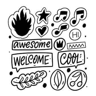 Set di elementi decorativi e frasi illustrazione vettoriale di colore nero isolato su sfondo bianco