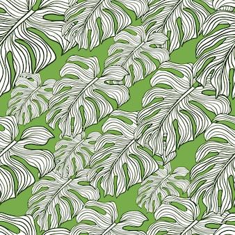 Decor hawaii senza cuciture con ornamento foglia monstera contorno casuale. sfondo verde.