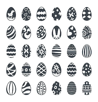 Set di icone nere decorate delle uova di pasqua
