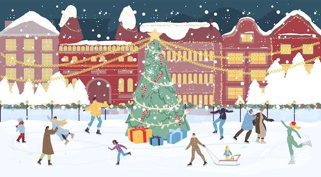 Piazza principale decorata di chrismtas con regalo sotto l'albero