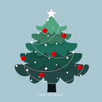 Albero di natale decorato. sfondo vacanza. buon natale e felice anno nuovo. illustrazione.
