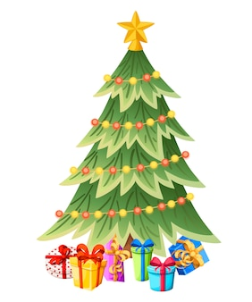 Albero di natale decorato con scatole regalo, stelle, luci, palline decorative. buon natale e felice anno nuovo. abete verde, albero sempreverde. illustrazione su sfondo bianco