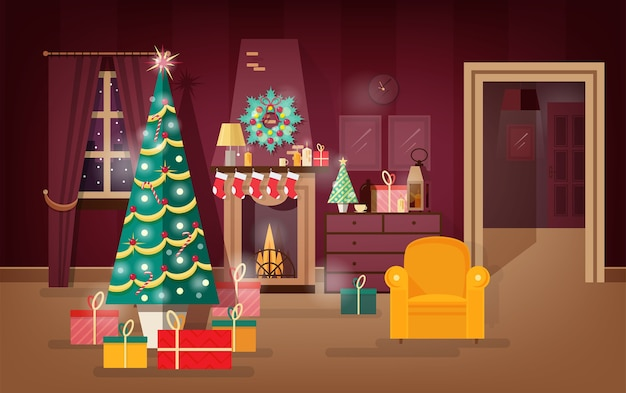Soggiorno decorato di vacanze invernali che illustra il presente del nuovo anno sotto l'albero di natale. illustrazione vettoriale colorato.