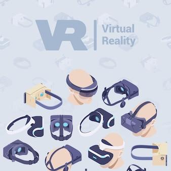 Design decorativo realizzato con cuffie per realtà virtuale isometrica