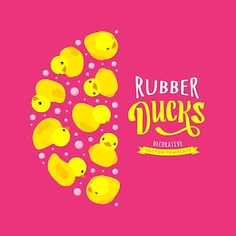 Design decorativo fatto di anatre di gomma gialle