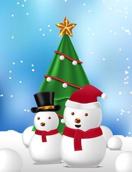 Decorazione albero di natale e pupazzo di neve carino per auguri di buon natale