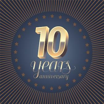 Elemento decorativo di design con medaglia e numero 3d per il 10 ° anniversario