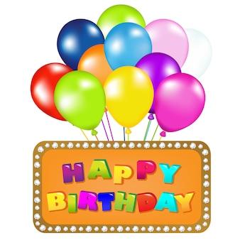 Decorazione pronta per il compleanno con palloncini, su sfondo bianco, illustrazione