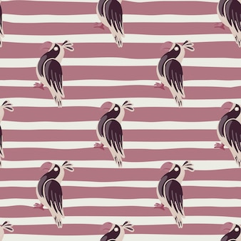 Modello senza cuciture animale decorativo con stampa di doodle di pappagalli di contorno. sfondo viola a strisce. perfetto per il design del tessuto, la stampa tessile, il confezionamento, la copertura. illustrazione vettoriale.