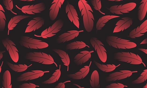 Banner decorativo con piume rosse illustrazione